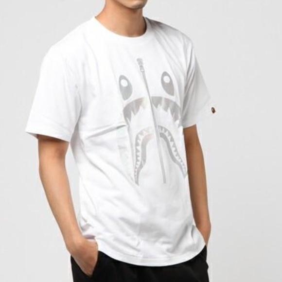 a0321920 Bape Shirts | Mens Hologram Shark Tee White W Silver | Poshmark